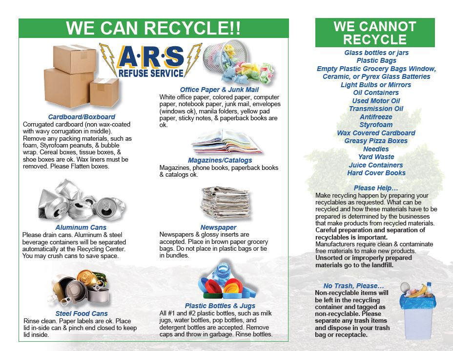ARS Recycling Flyer – Village of Montpelier, Williams County